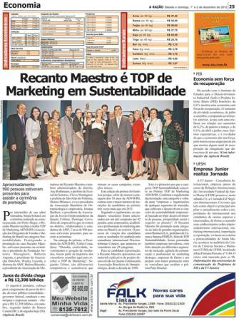 Recanto Maestro é Top de Marketing em Sustentabilidade