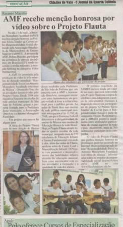 AMF recebe menção honrosa por vídeo sobre o Projeto Flauta