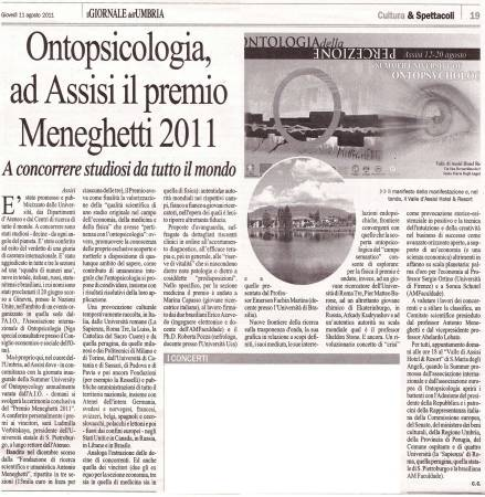Ontopsicologia: em Assis, o Prêmio Meneghetti 2011